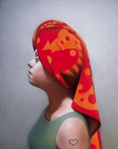 A painting of a woman's profile. She is facing left and wearing a green tank top. She has a red and gold beach towl wrapped around her head in a way that looks very majestic. She has down's syndrome and a small tattoo of the outline of a heart on her arm. This painting is described in the interview.