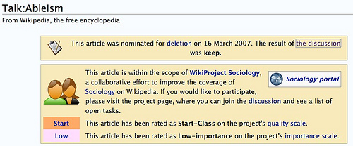 A screenshot of the Ableism Wikipedia page. One line reads This article has been rated as Low-importance on the project's importance scale.