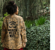 "Camouflage jacket with the words ""Women, Weed, Wife"" on it"