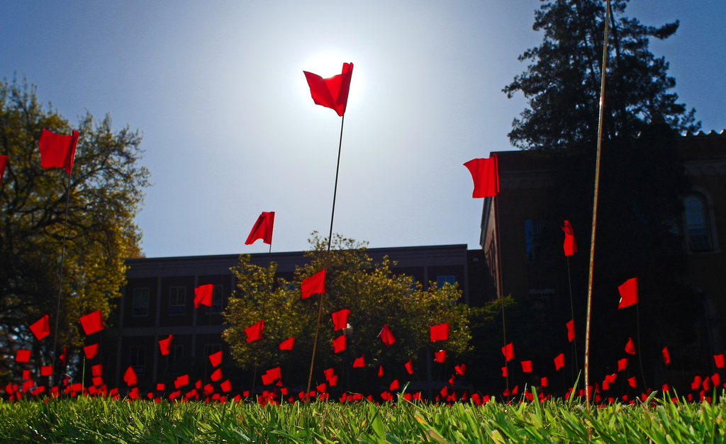 A field of red flags covers the university of oregon campus.
