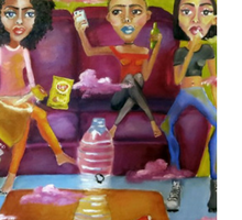 Colorful painting of three women on a couch smoking weed and drinking