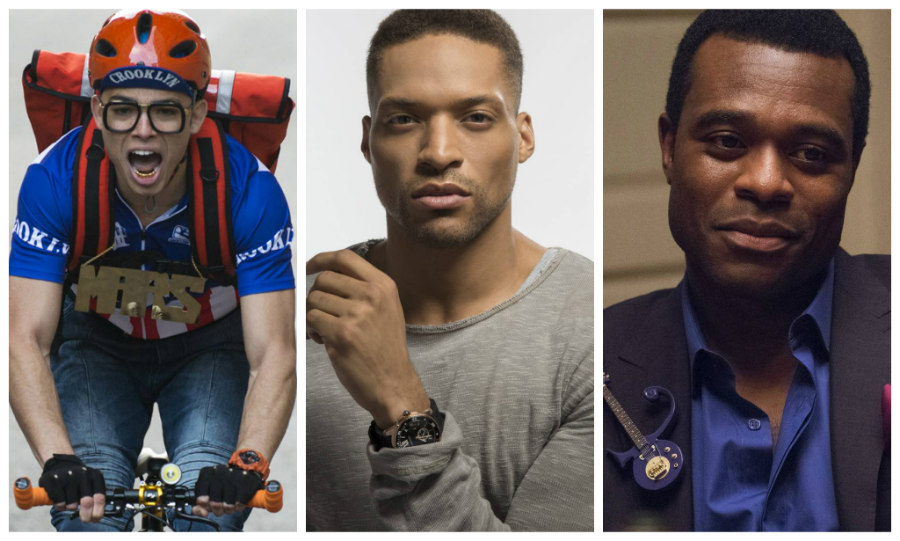 Anthony Ramos as Mars Blackmon, Cleo Anthony as Greer Childs, and Lyriq Bent as Jamie Overstreet in She's Gotta Have It
