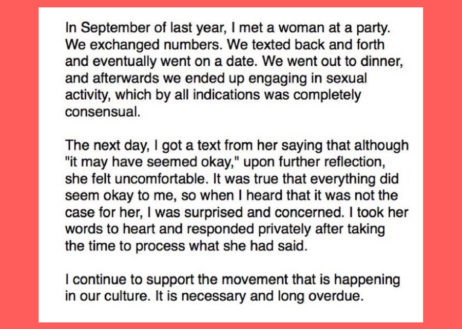 Aziz Ansari's statement about Grace