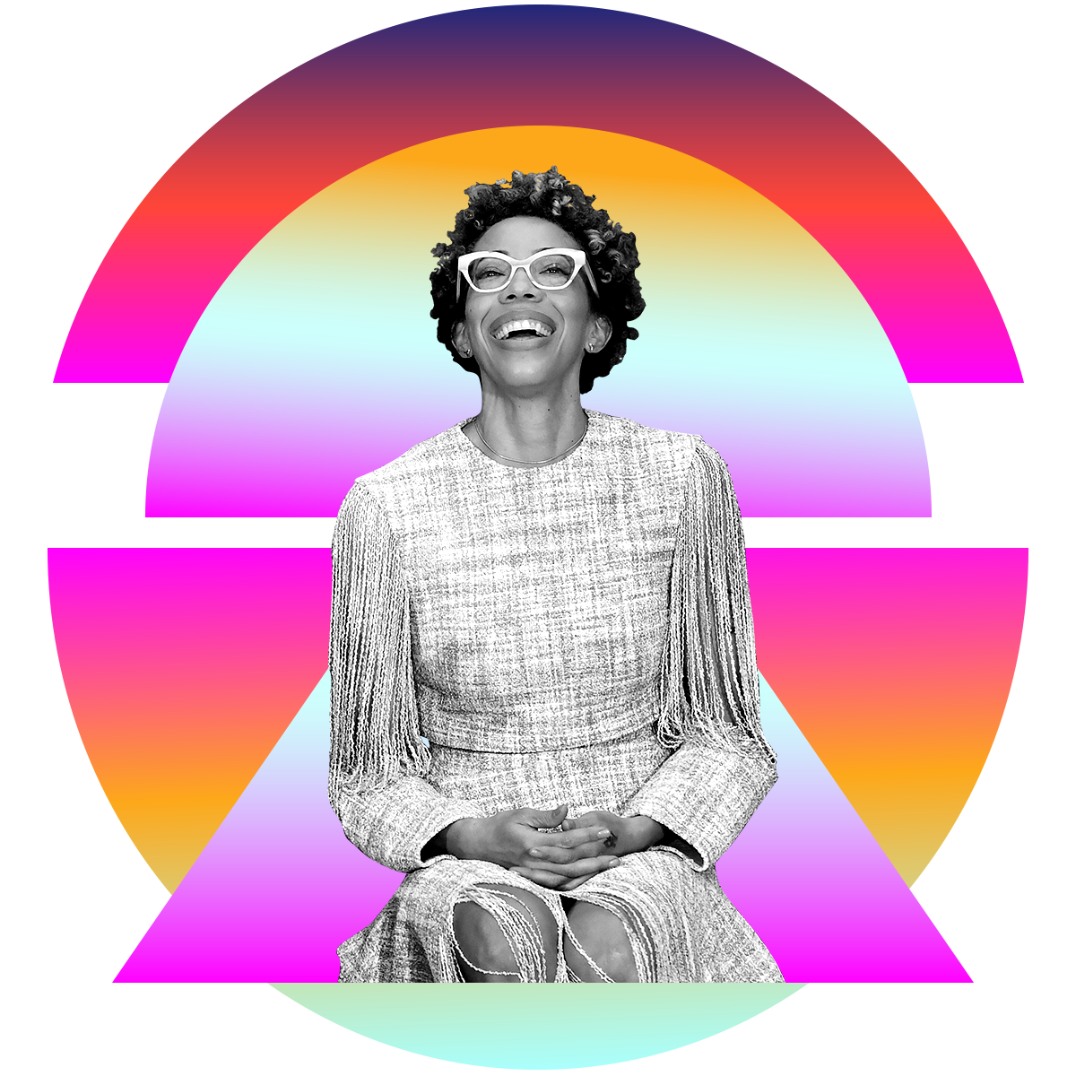 Photo illustration of Amy Sherald in black and white surrounded by colored gradients