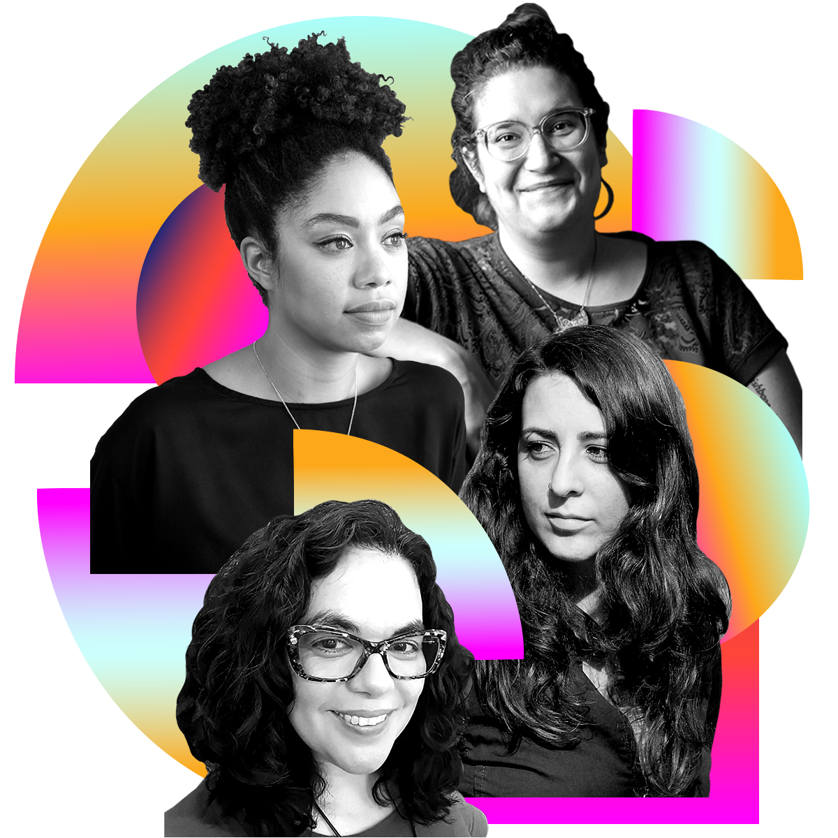 Photo illustration of Zinzi Clemmons, Carmen Maria Machado, Monica Byrne, and Alisa Rivera in black and white surrounded by colored gradients