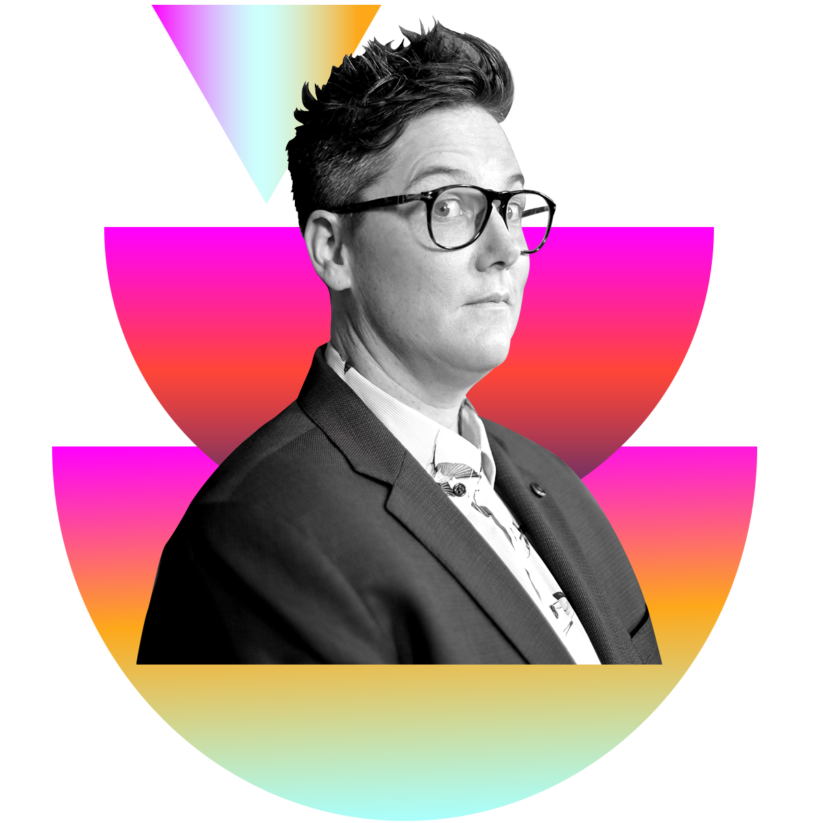Photo illustration of Hannah Gadsby in black and white surrounded by colored gradients