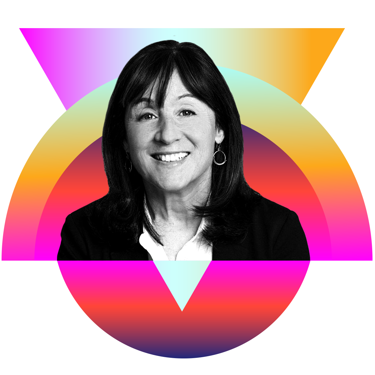 Photo illustration of Jane Mayer in black and white surrounded by colored gradients