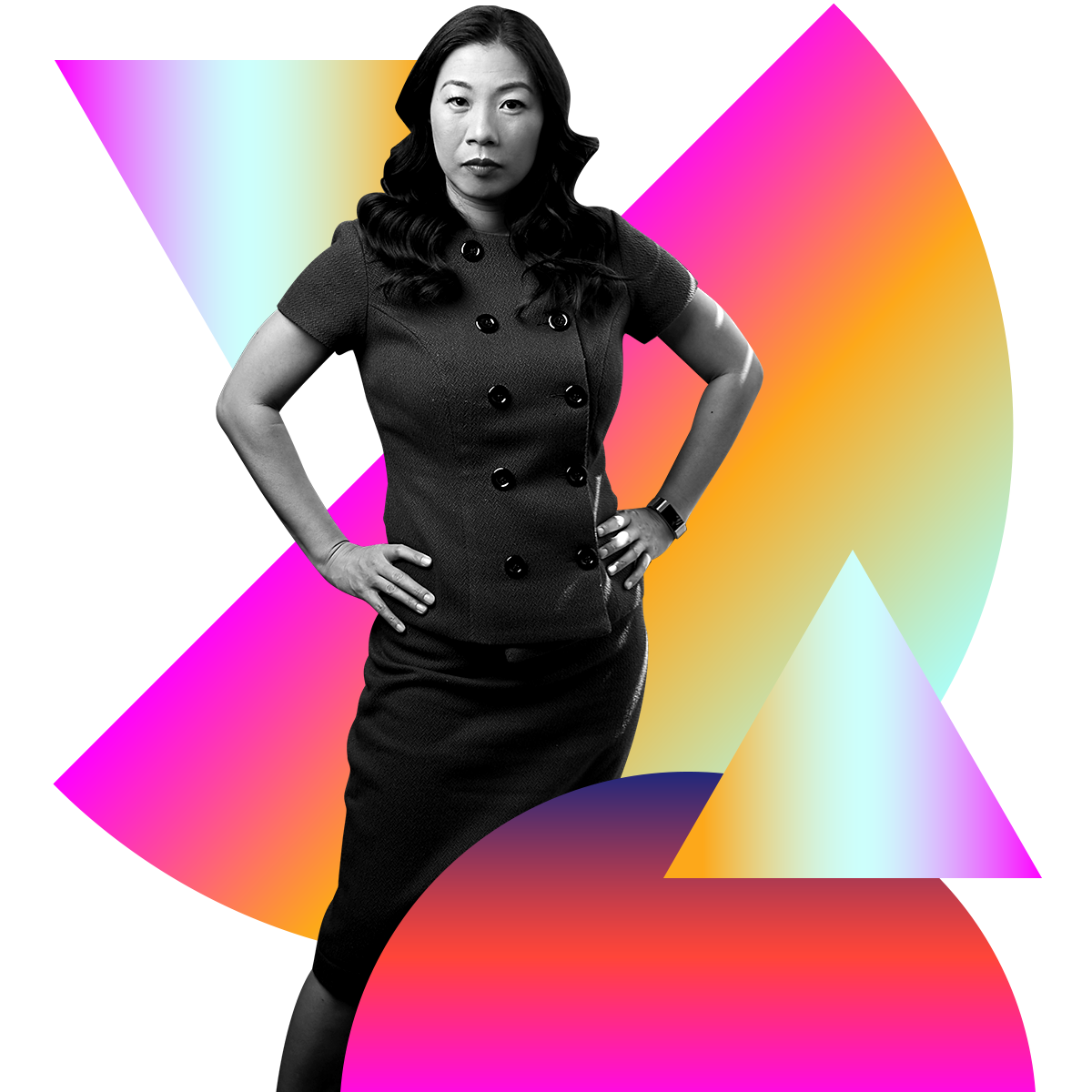 Photo illustration of Kristina Wong in black and white surrounded by colored gradients