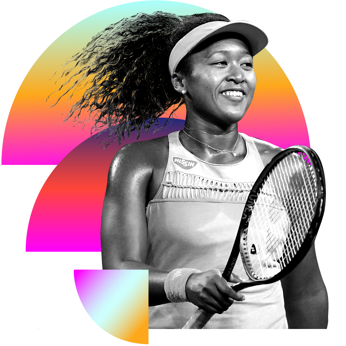 Photo illustration of Naomi Osaka in black and white surrounded by colored gradients