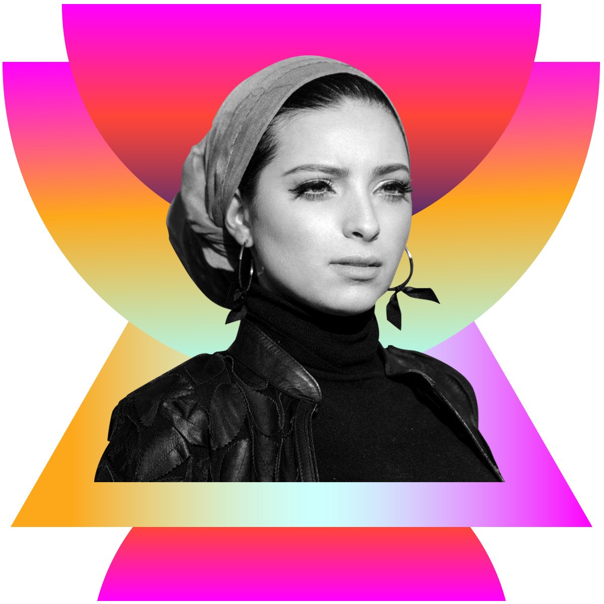 Photo illustration of Noor Tagouri in black and white surrounded by colored gradients