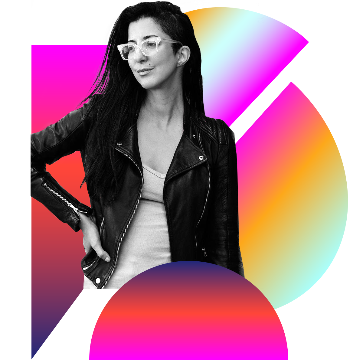 Photo illustration of Porochista Khakpour in black and white surrounded by colored gradients