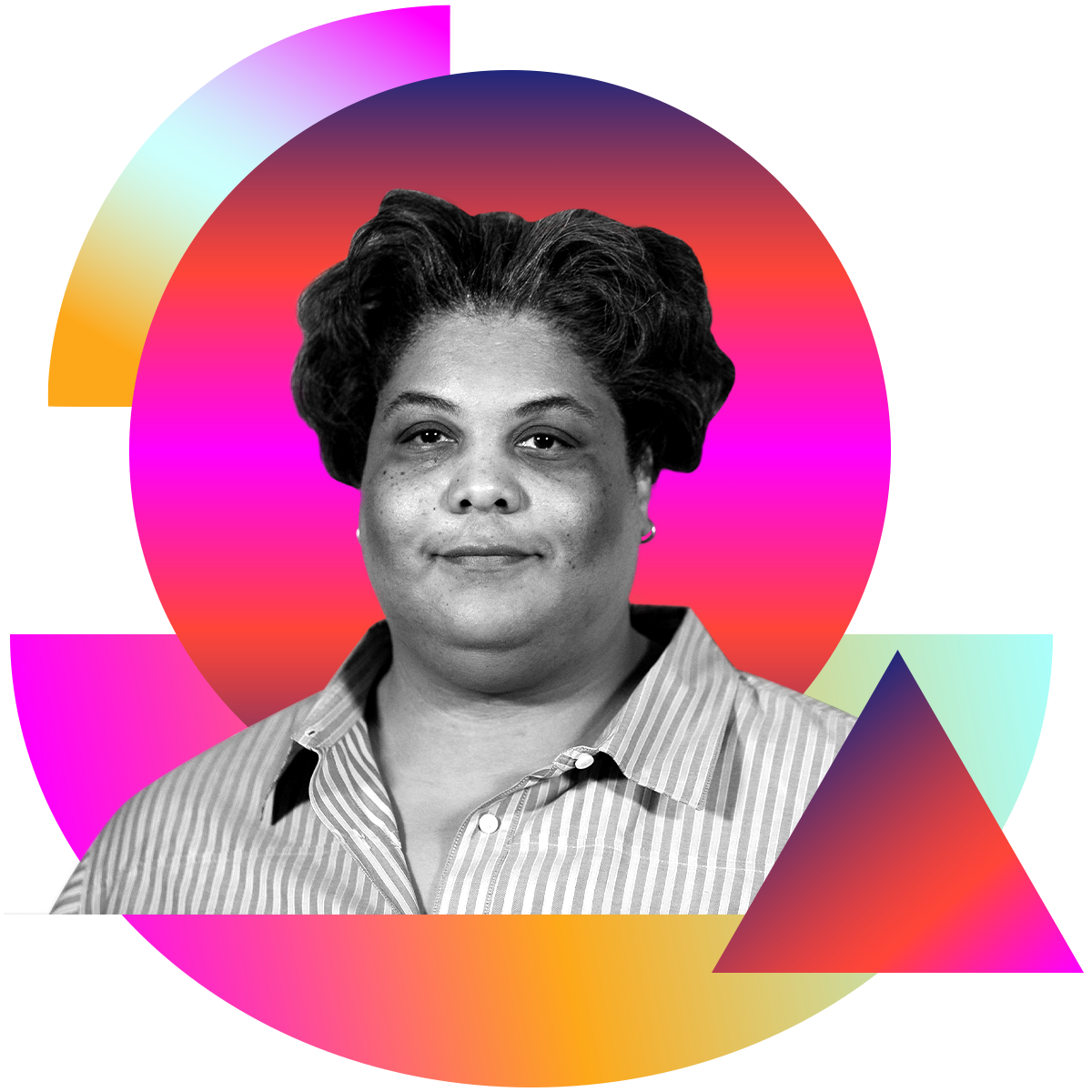Photo illustration of Roxane Gay in black and white surrounded by colored gradients