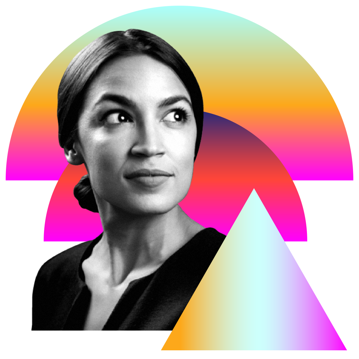 Photo illustration of Alexandria Ocasio-Cortez in black and white surrounded by colored gradients