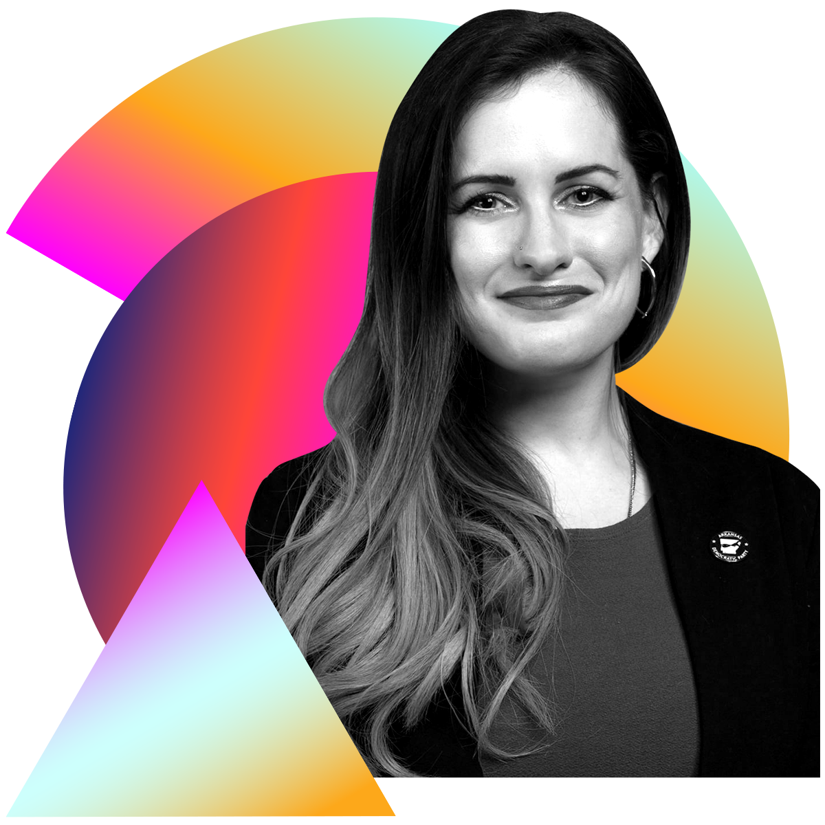 Photo illustration of Kati McFarland in black and white surrounded by colored gradients