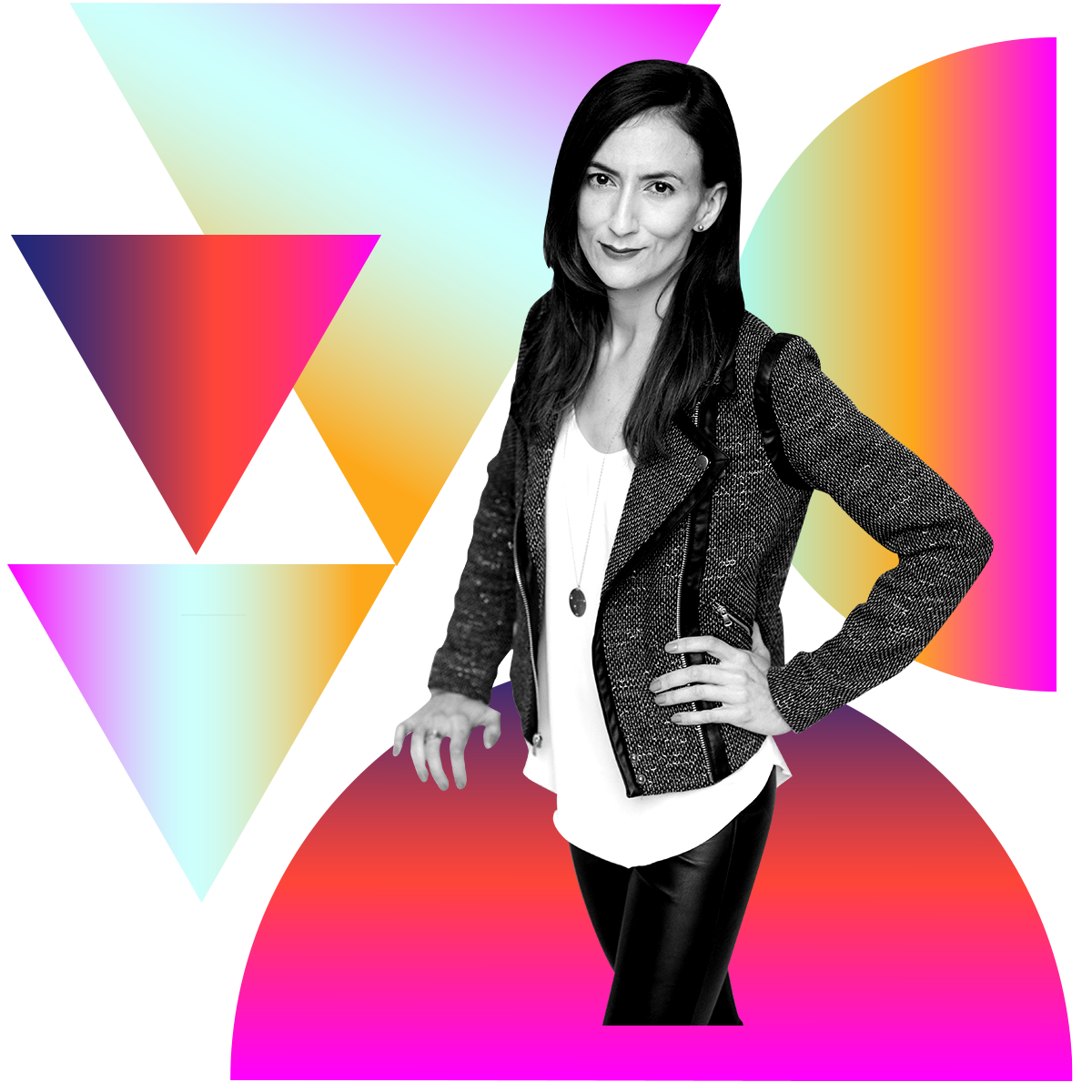 Photo illustration of Rebecca Buckwalter-Poza in black and white surrounded by colored gradients