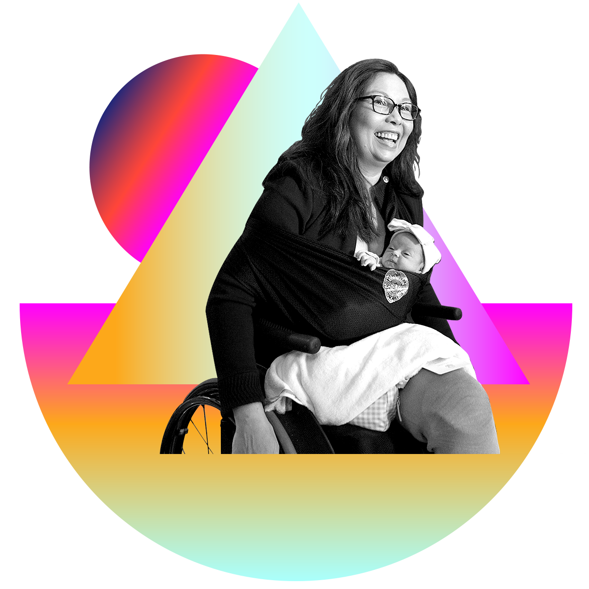 Photo illustration of Tammy Duckworth in black and white surrounded by colored gradients