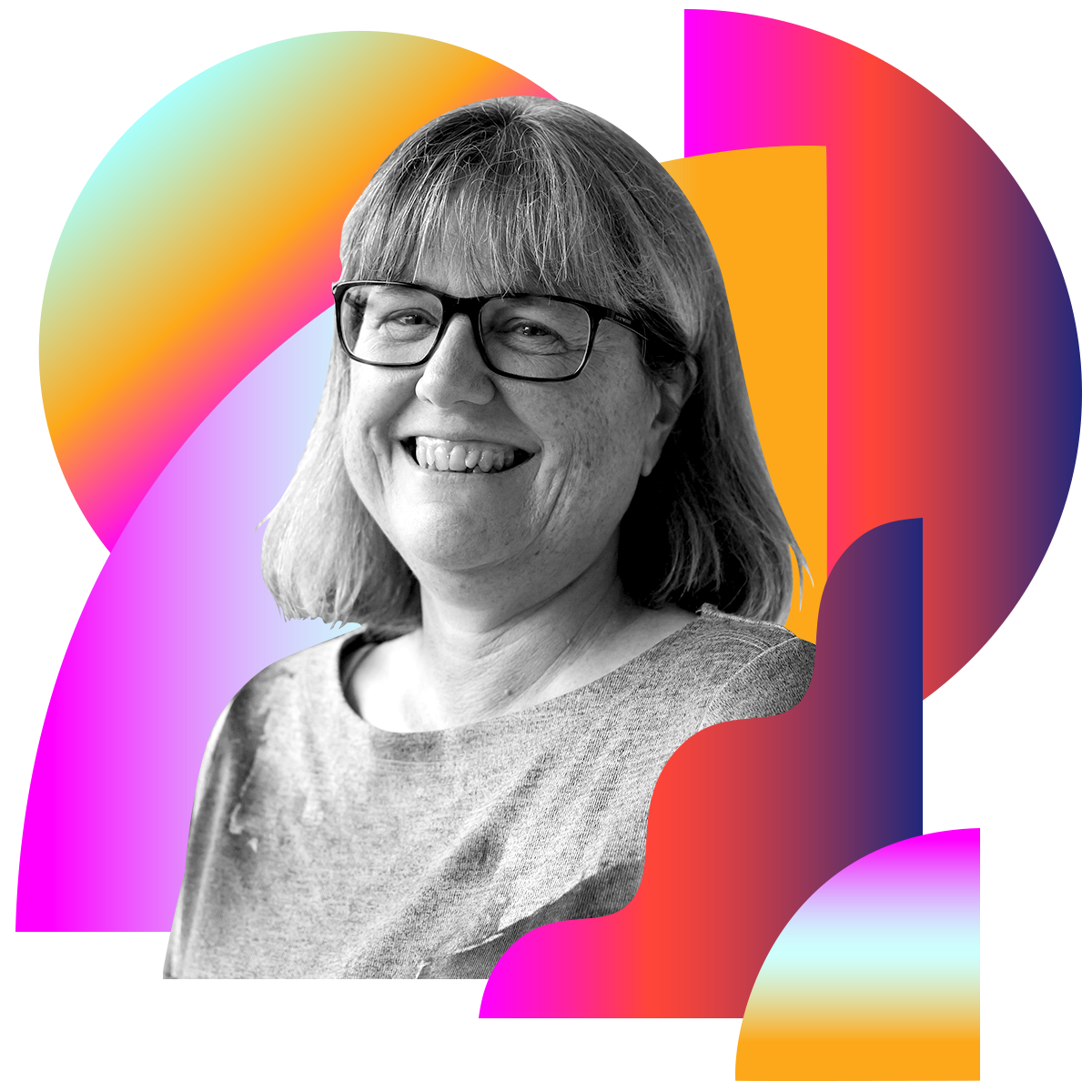 Photo illustration of Donna Strickland in black and white surrounded by colored gradients