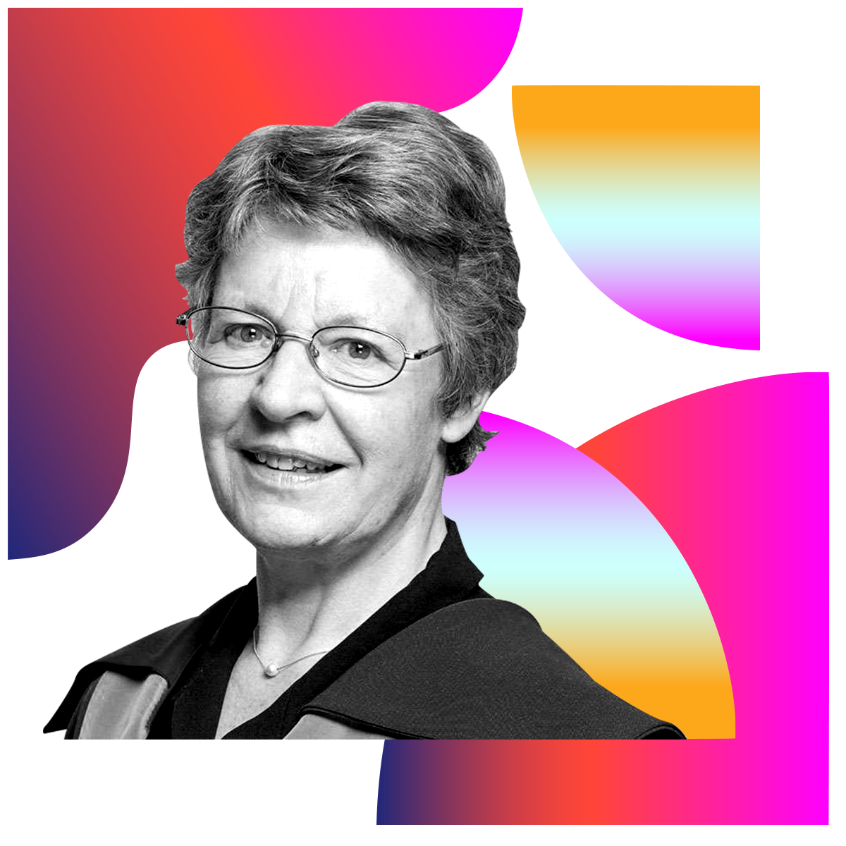 Photo illustration of Jocelyn Bell Burnell in black and white surrounded by colored gradients