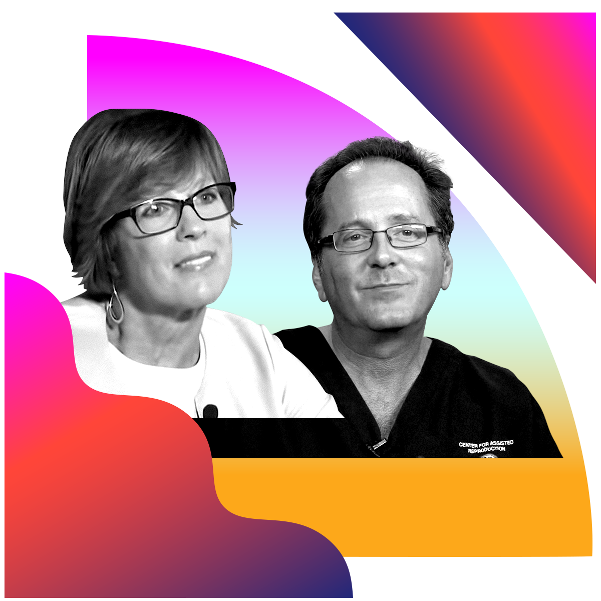Photo illustration of Kathy and Kevin Doody in black and white surrounded by colored gradients