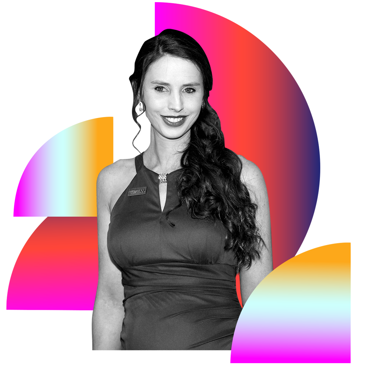 Photo illustration of Rachael Denhollander in black and white surrounded by colored gradients