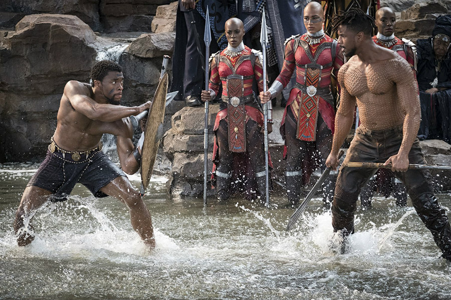 Chadwick Boseman as T'Challa and Michael B. Jordan as Erik Killmonger in Black Panther