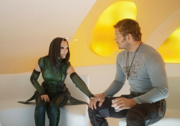 Chris Pratt and Pom Klementieff in Guardians of the Galaxy
