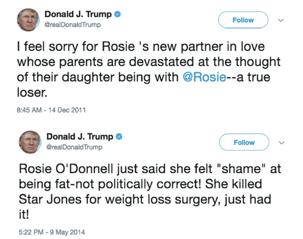 Donald Trump Rosie O'Donnell tweets