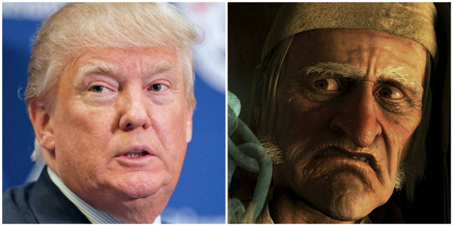 Donald Trump and Jim Carrey as Ebenezer Scrooge In A Christmas Carol