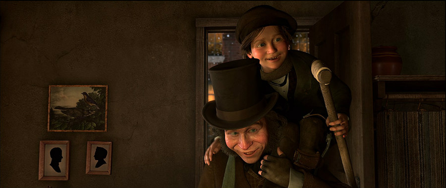 Gary Oldman as Bob Cratchit and Tiny Tim in A Christmas Carol