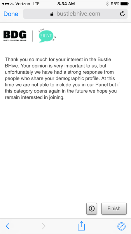 screen shot of Bustle BHive rejection letter