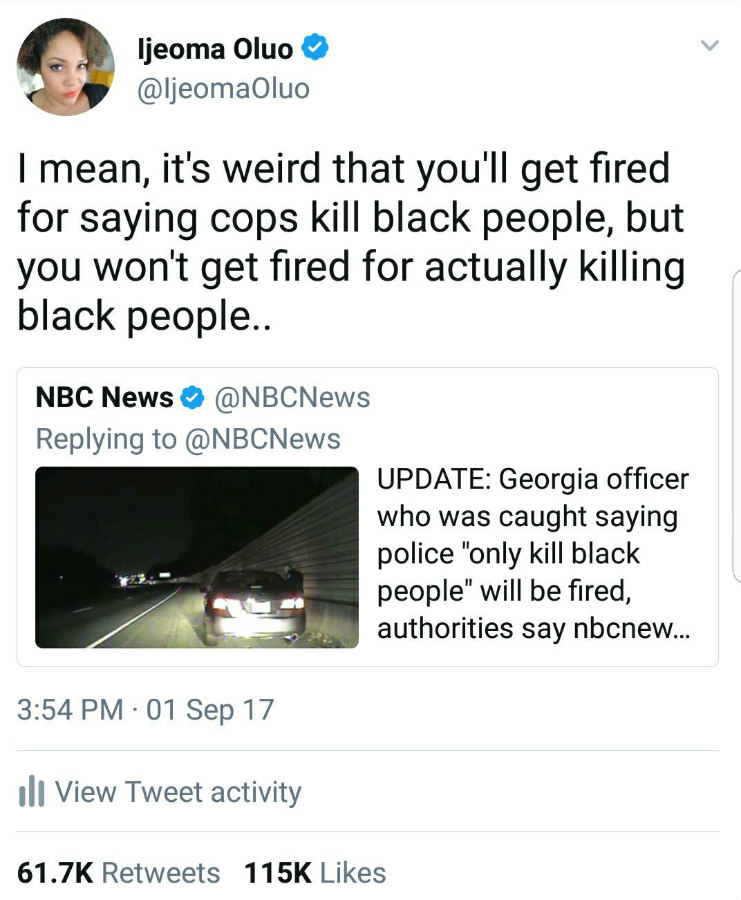 Ijeoma Oluo speaking out about police brutality on Twitter
