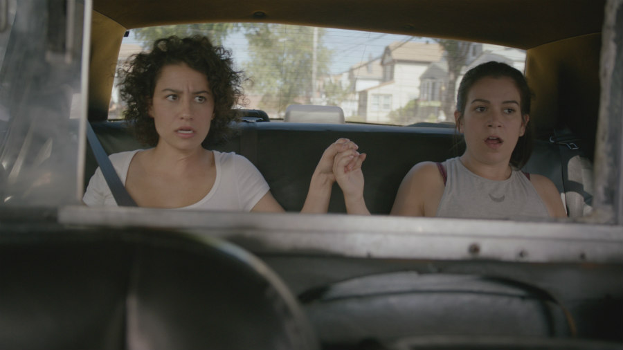 Ilana Glazer as Ilana Wexler and Abbi Jacobson as Abbi Abrams on Broad City