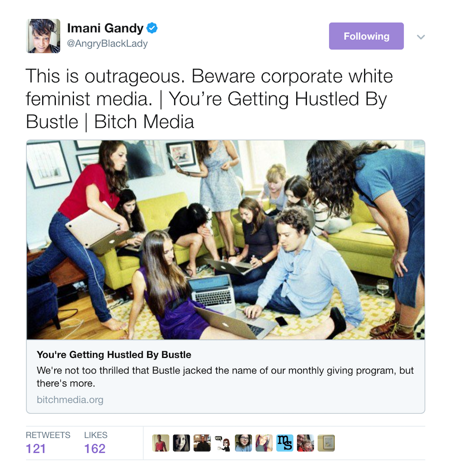 Imani Gandy tweets: Beware corporate white feminist media.