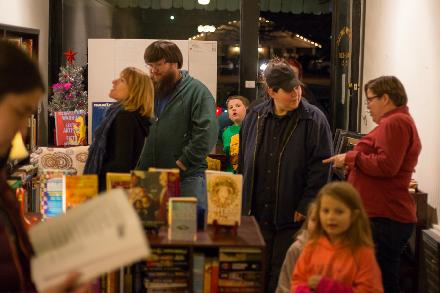 Jaime Harker and customers at Violet Valley bookstore in Water Valley, Mississippi