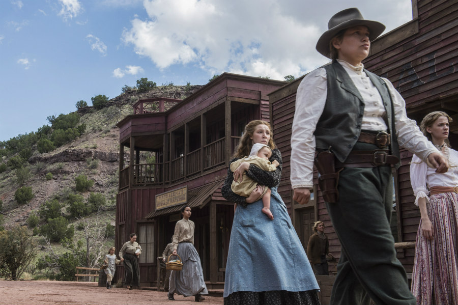 Kayli Carter as Sadie Rose, Merritt Wever as Mary Agnes, and Tess Frazer as Callie Dunne in Godless