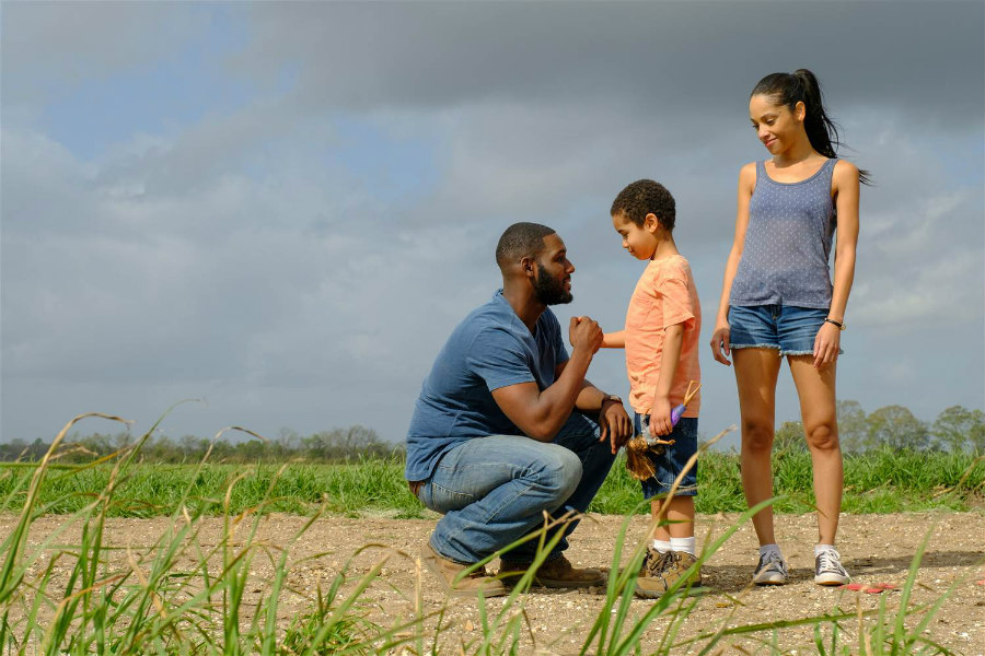 Kofi Siriboe as Ralph-Angel, Ethan Hutchinson as Blue, and Bianca Lawson as Darla on Queen Sugar