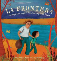 a Latinx father and child are walking beside a lake on a book cover