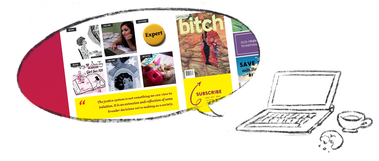 A laptop with a speech bubble containing emblems of the many pop culture topics we cover.