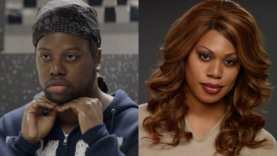 M. Lamar as Marcus Burset and Laverne Cox as Sophia Burset on Orange is the New Black
