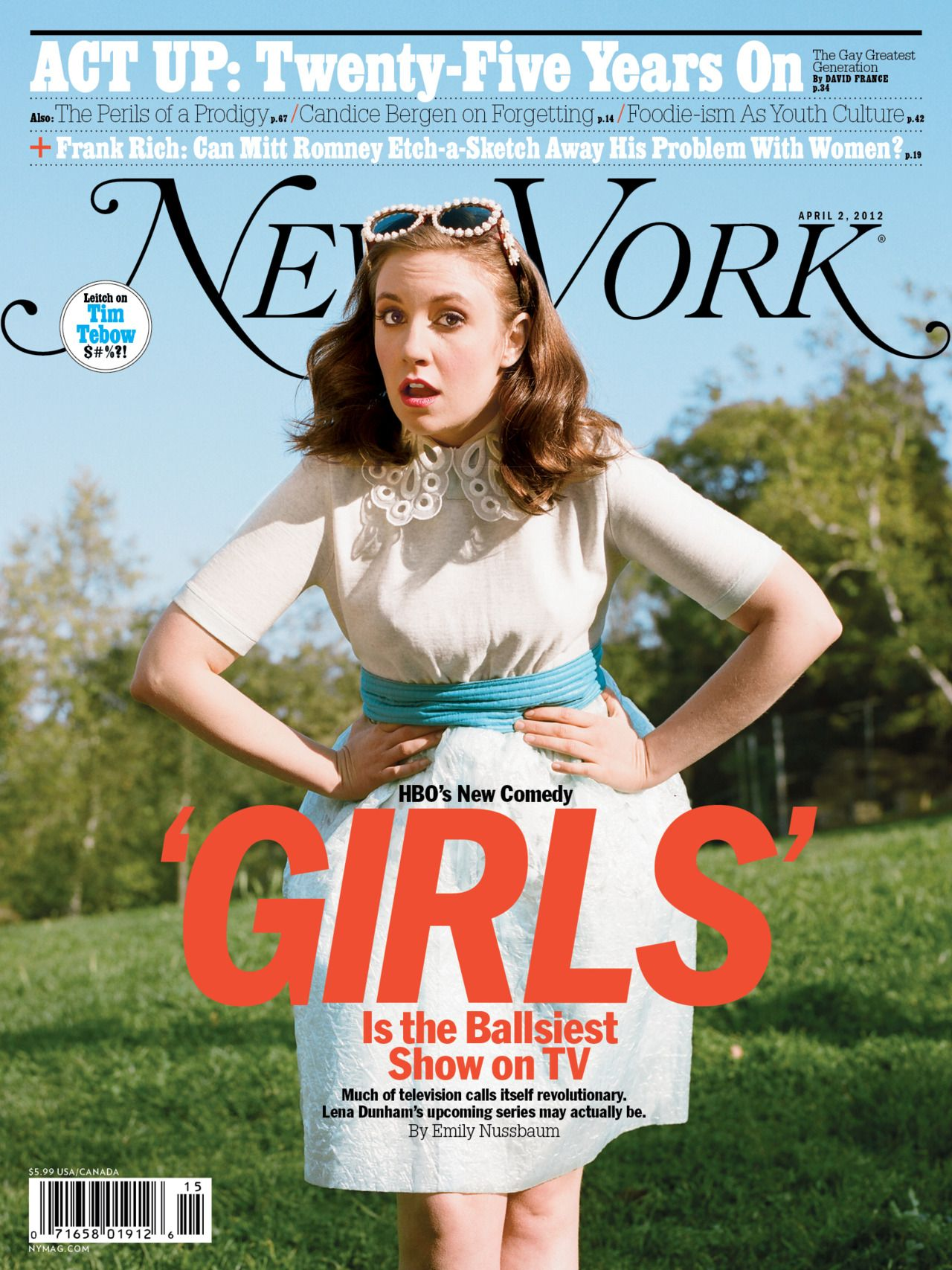 a white woman in a blue and red dress poses on the cover of New York Magazine