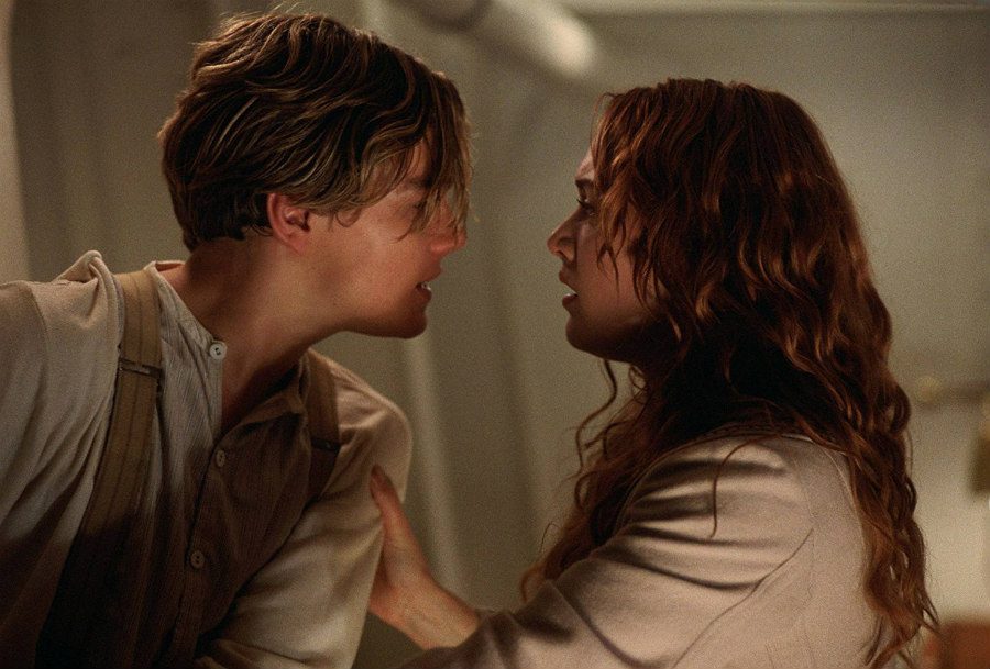 Leonardo DiCaprio as Jack and Kate Winslet as Rose in Titanic