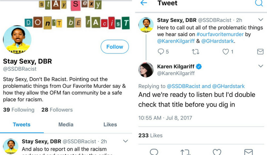 """Kilgariff s response to the Stay Sexy Don t Be Racist Twitter  account—because """"put some respeck"""" on our name before you call us racist. 54e9a035d"""