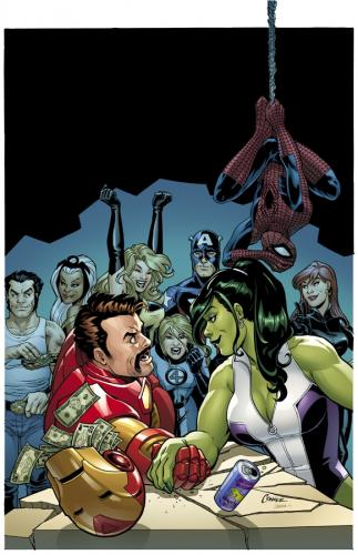a comic book cover featuring She-Hulk beating Ironman in an arm wrestling match. Other superheroes look on from the background, the female superheroes are stoked.