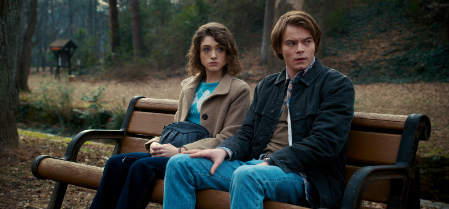 Natalia Dyer and Joe Keery in Stranger Things