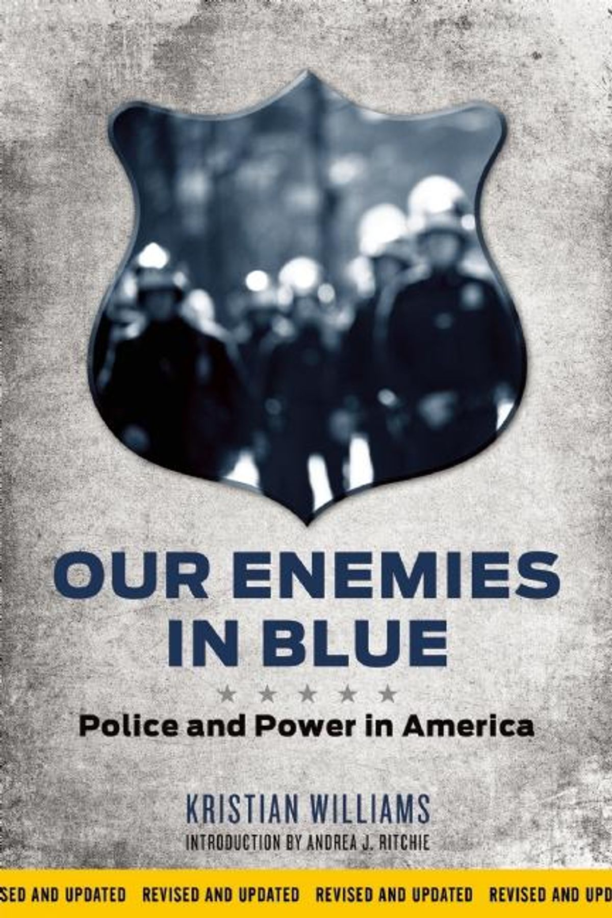 a gray book cover with Our Enemies in Blue written in blue letter and a gray shield