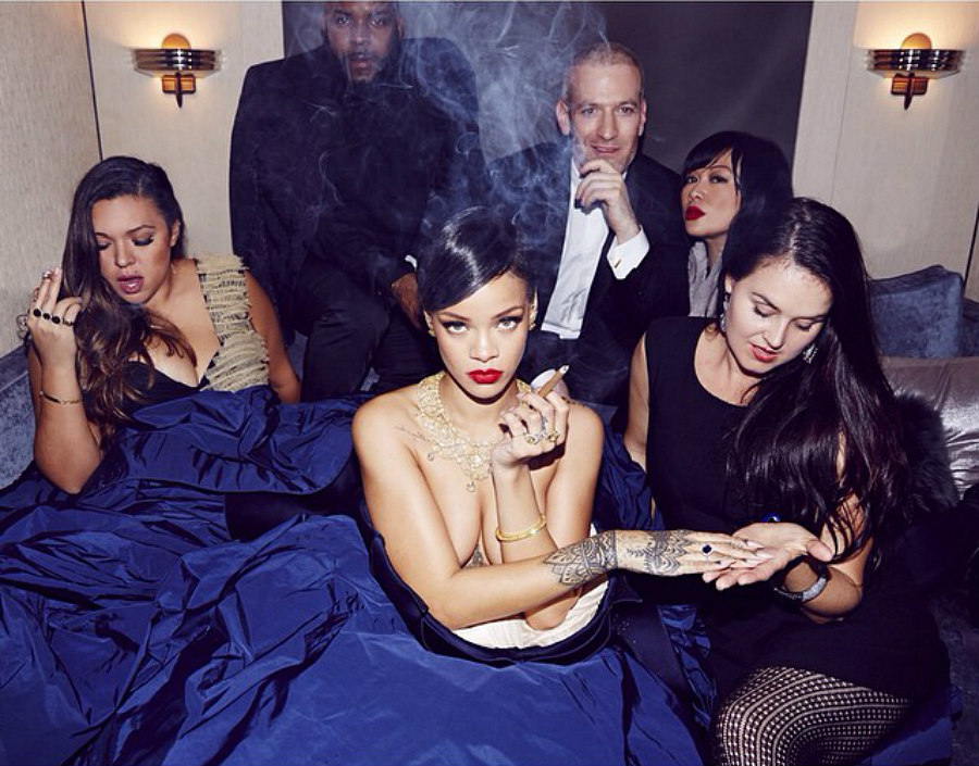 Rihanna, a lightskinned Black woman singer with short, black hair, smokes weed on Instagram