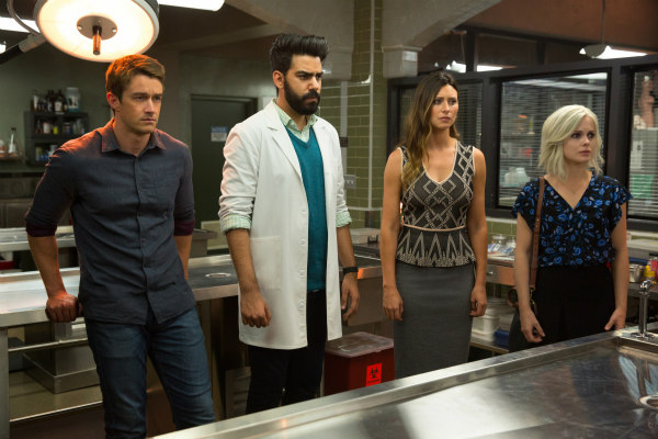 Robert Buckley, Rose McIver, Aly Michalka, and Rahul Kohli in iZombie