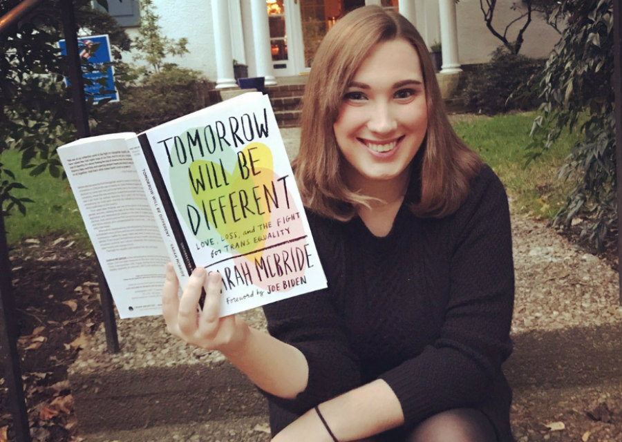 Sarah McBride holding Tomorrow Will Be Different