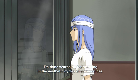 young, blue-haired animated woman in a white t-shirt looks pensively out a window