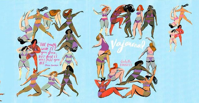 blue front-and-back book cover, illustrated with abstract paintings of women in purple bikinis